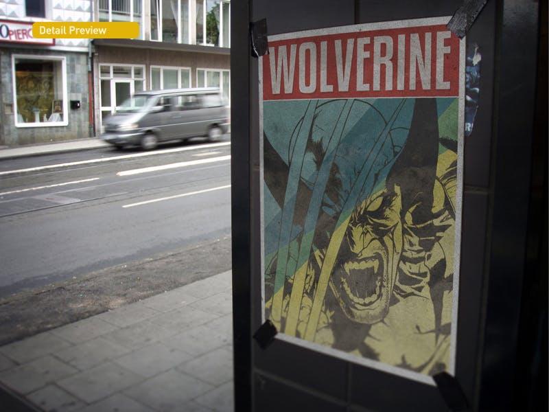 复古做旧褶皱撕裂街头墙贴海报设计展示样机模板 Poster Mockup插图(9)