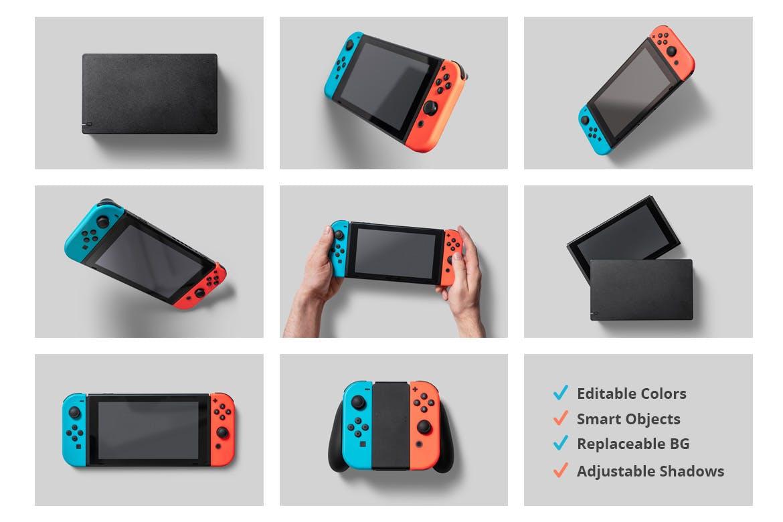 8款Wii U掌上游戏机游戏设计预览样机 8 Switch Console Mockups插图(9)