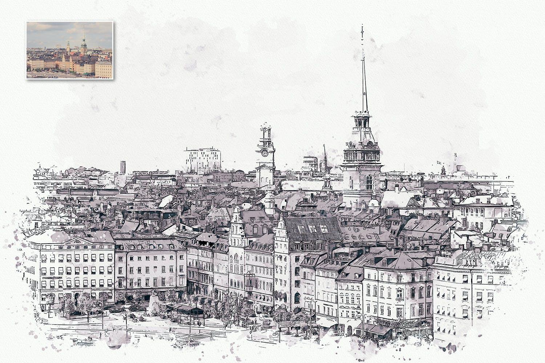 手绘水彩素描效果城市照片后期特效PS动作 Urban Sketch Photoshop Action插图(9)