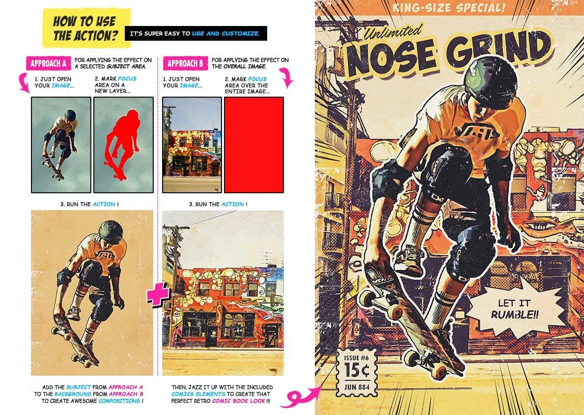 逼真复古手绘漫画效果照片后期处理特效PS动作 Retro Comic Book Photoshop Action Kit插图(9)