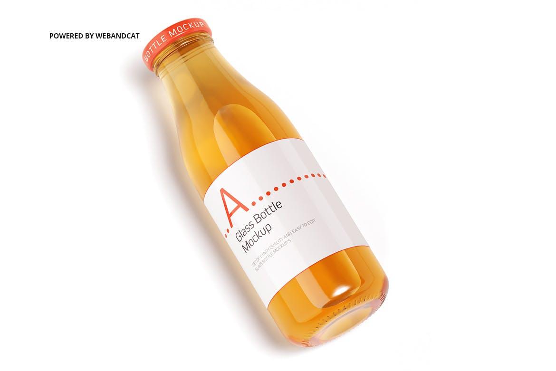 果汁牛奶玻璃瓶设计展示样机 Juice / Glass Bottle Mockup插图(9)