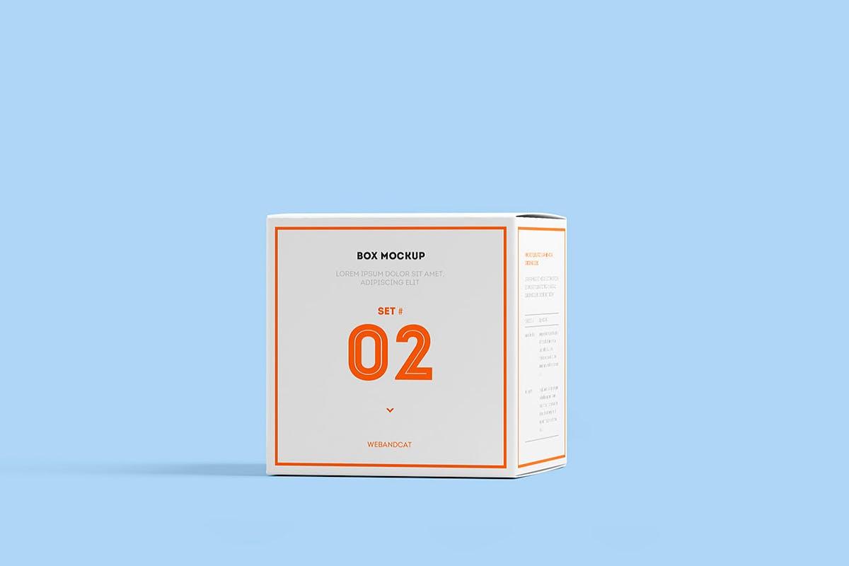 7款方形产品包装纸盒外观设计展示样机模板 Package Box Mockup: Square Box插图(9)