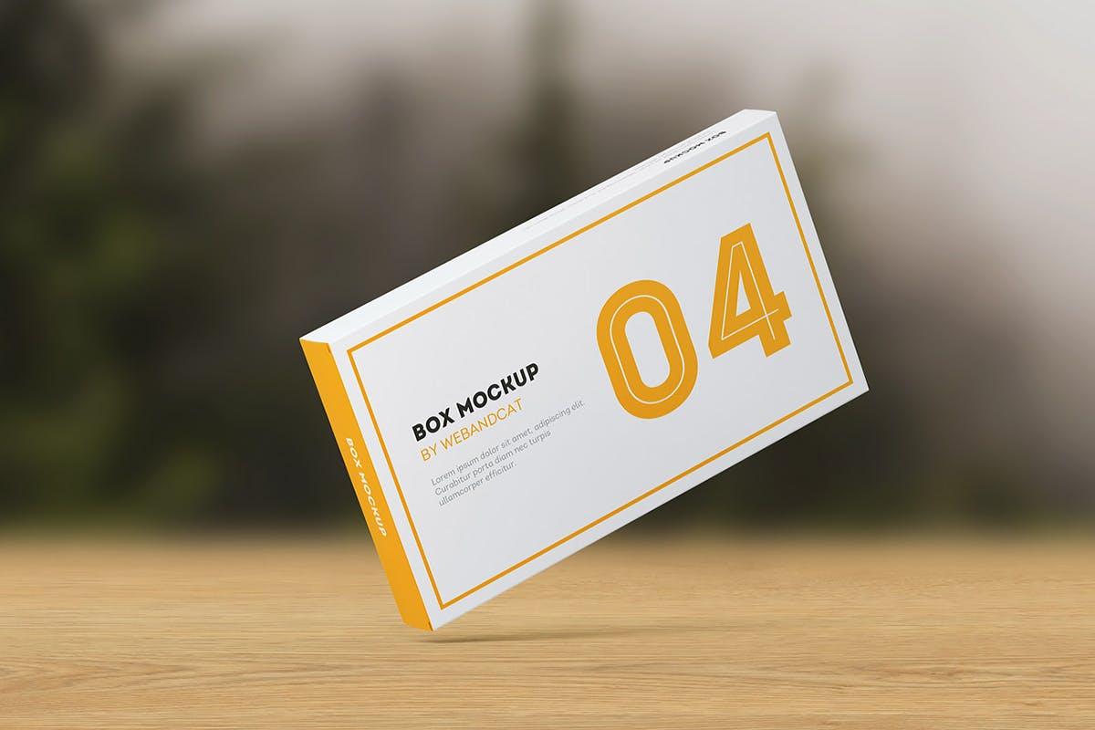 9款平面矩形药片包装盒设计展示样机模板 Package Box Mockup: Flat Rectangle Box插图(9)