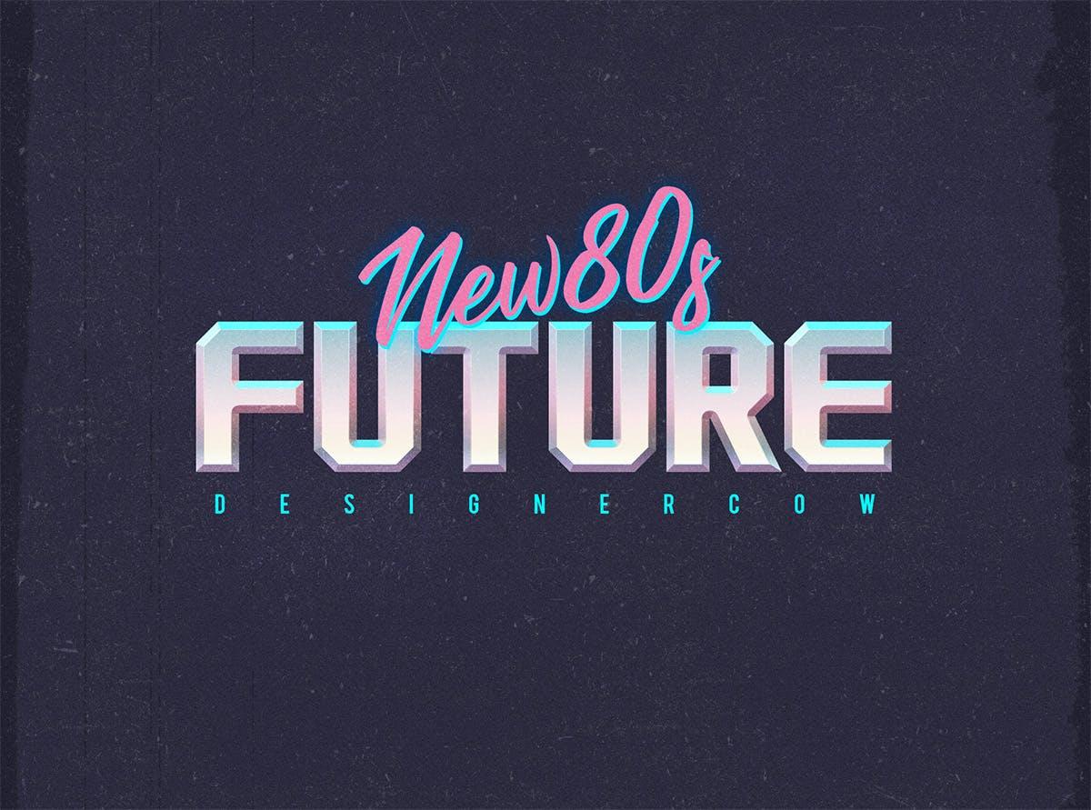 80年代复古3D立体海报标题徽标字体设计PS样式模板 80s Text Effect V3插图(3)