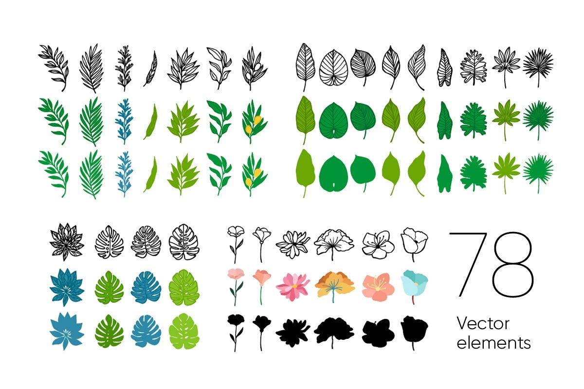 手绘自然花卉植物艺术背景图矢量素材 Floral Backgrounds & Patterns插图(9)
