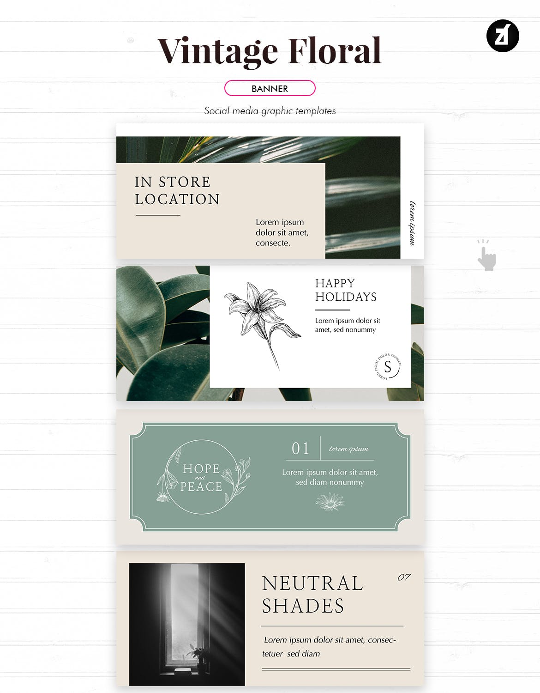 复古花卉品牌推广社交新媒体海报设计PSD模板 Vintage Floral Social Media Graphic Templates插图(9)