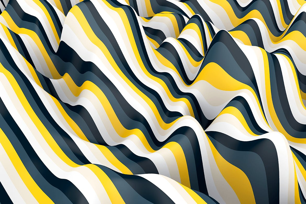 10款高清抽象多彩3D条纹波背景PNG图片素材 Multi-colored Striped Waves Backgrounds插图(9)