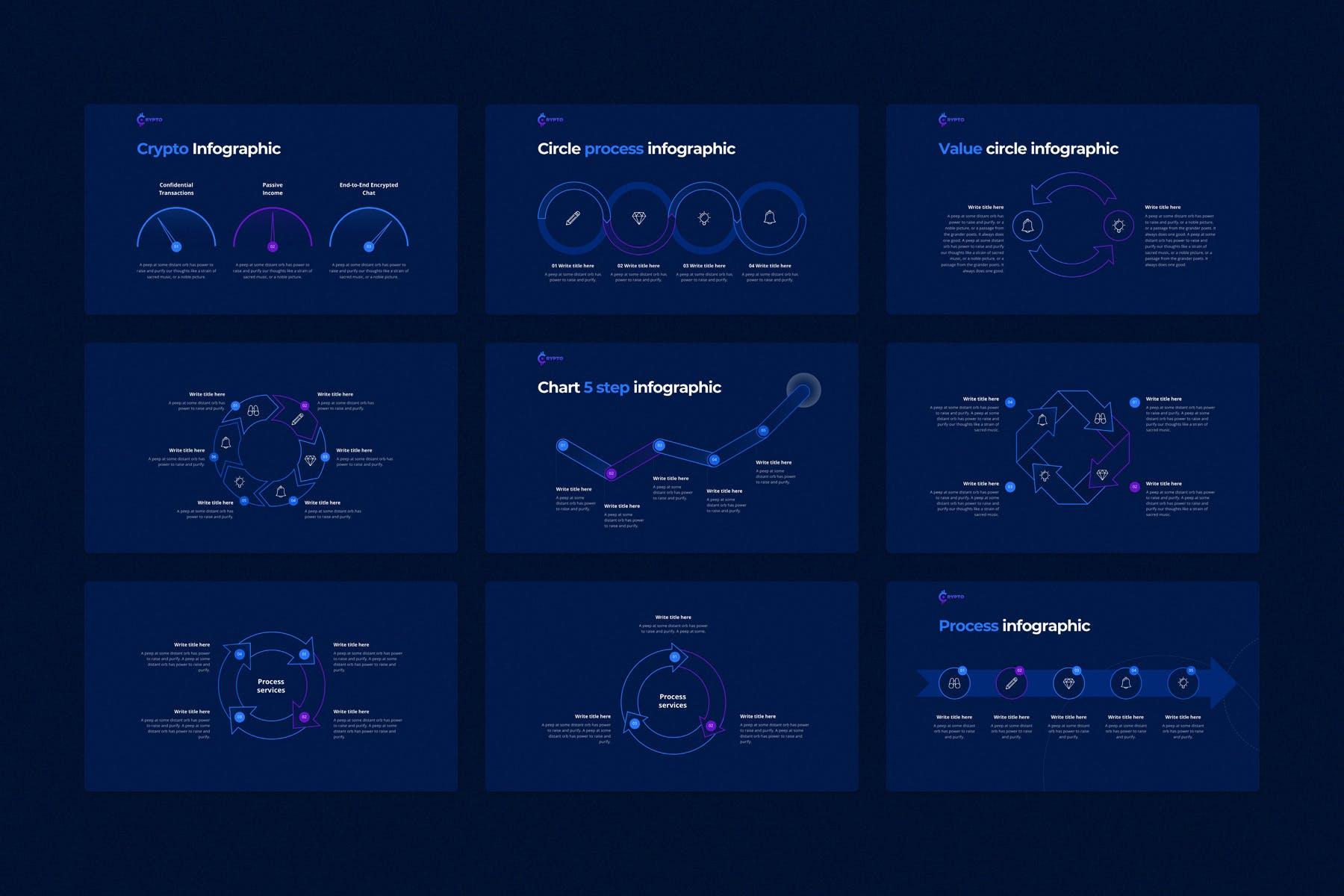 行业研究公司业务介绍图表设计幻灯片模板 CRYPTO Powerpoint Template插图(9)