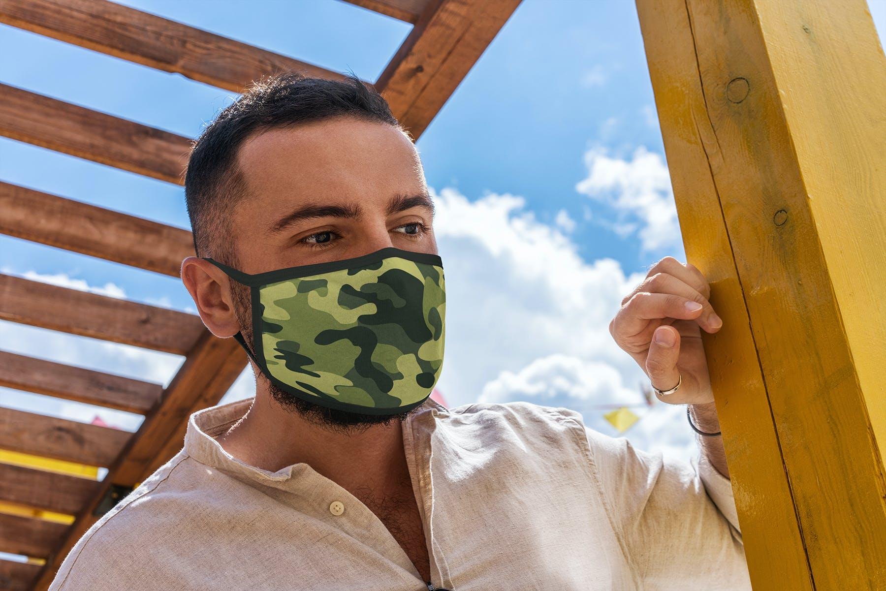 17款防护面罩口罩印花设计展示样机模板 Face Mask Mockup Edges Model插图(9)