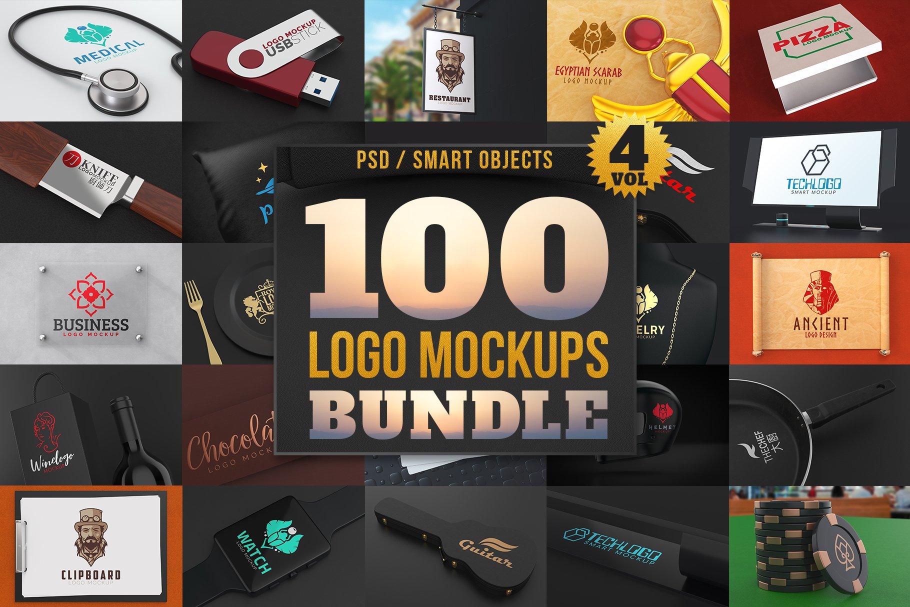 100款品牌标志LOGO徽标设计展示样机模板合集 100 Logo Mockups Bundle Vol.4插图