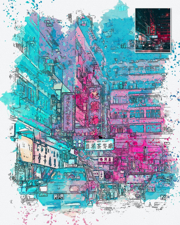 手绘水彩素描效果城市照片后期特效PS动作 Urban Sketch Photoshop Action插图(10)