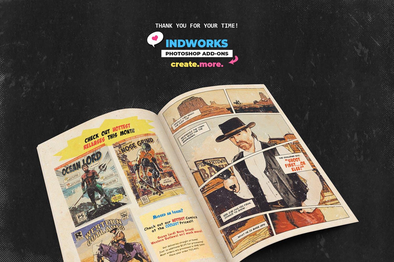 逼真复古手绘漫画效果照片后期处理特效PS动作 Retro Comic Book Photoshop Action Kit插图(10)