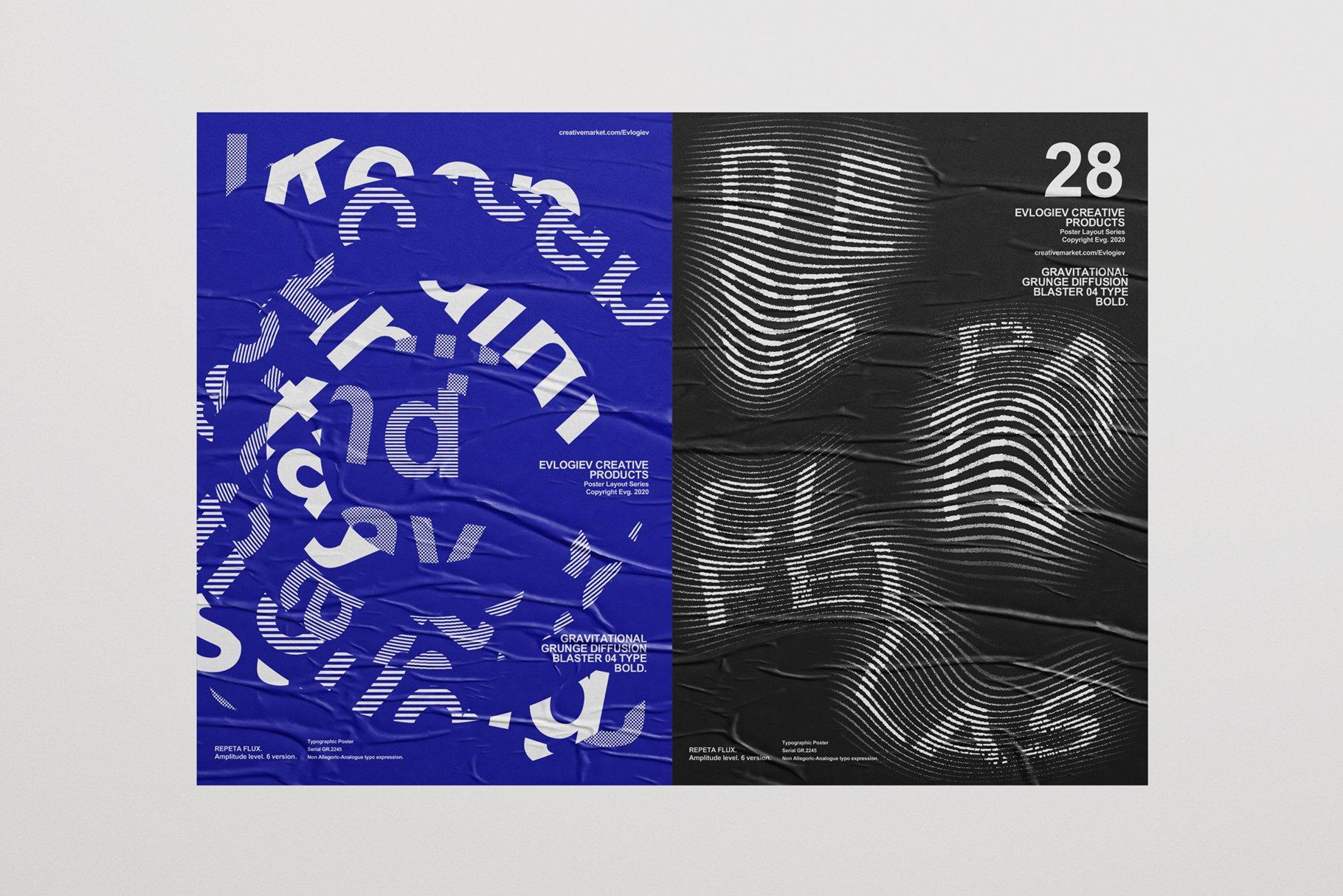 20款创意抽象主视觉海报标题特效字体设计智能贴图样机模板 Typographic Poster Layouts No.01插图(10)