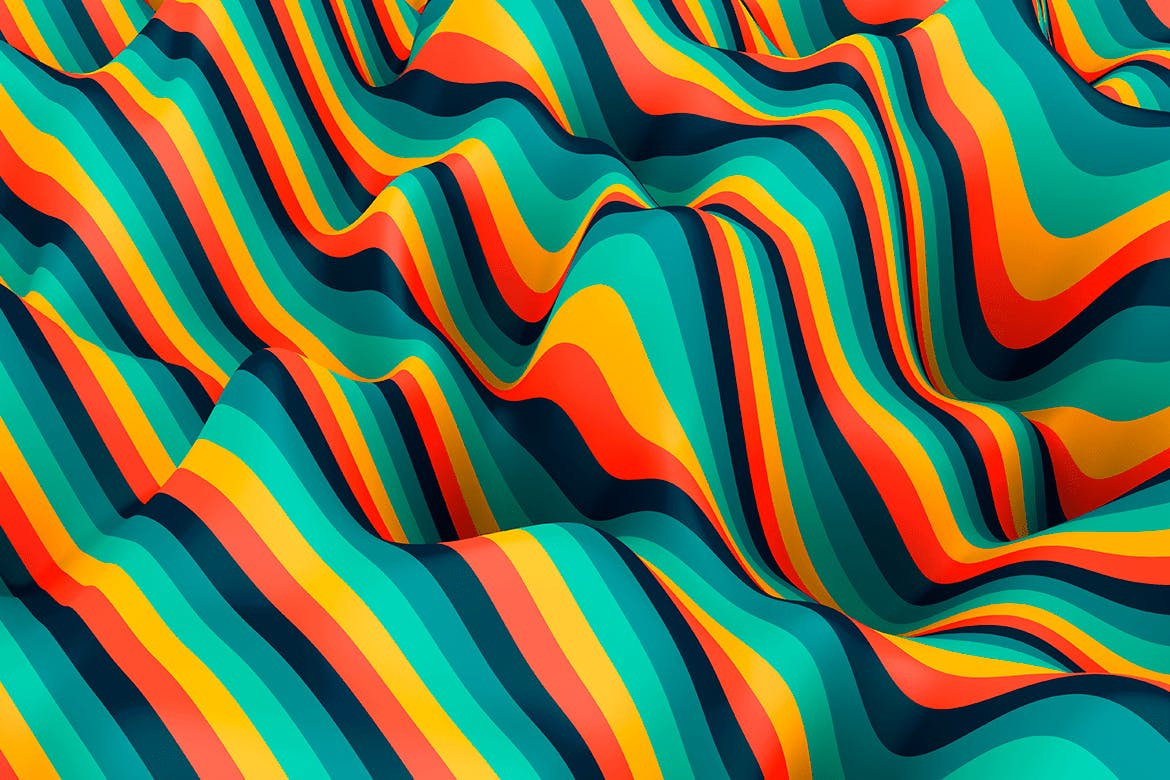 10款高清抽象多彩3D条纹波背景PNG图片素材 Multi-colored Striped Waves Backgrounds插图(10)