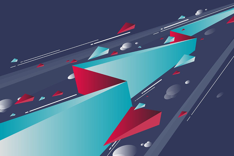 多彩抽象几何闪电矢量背景素材 Geometric Lightning Backgrounds插图(10)