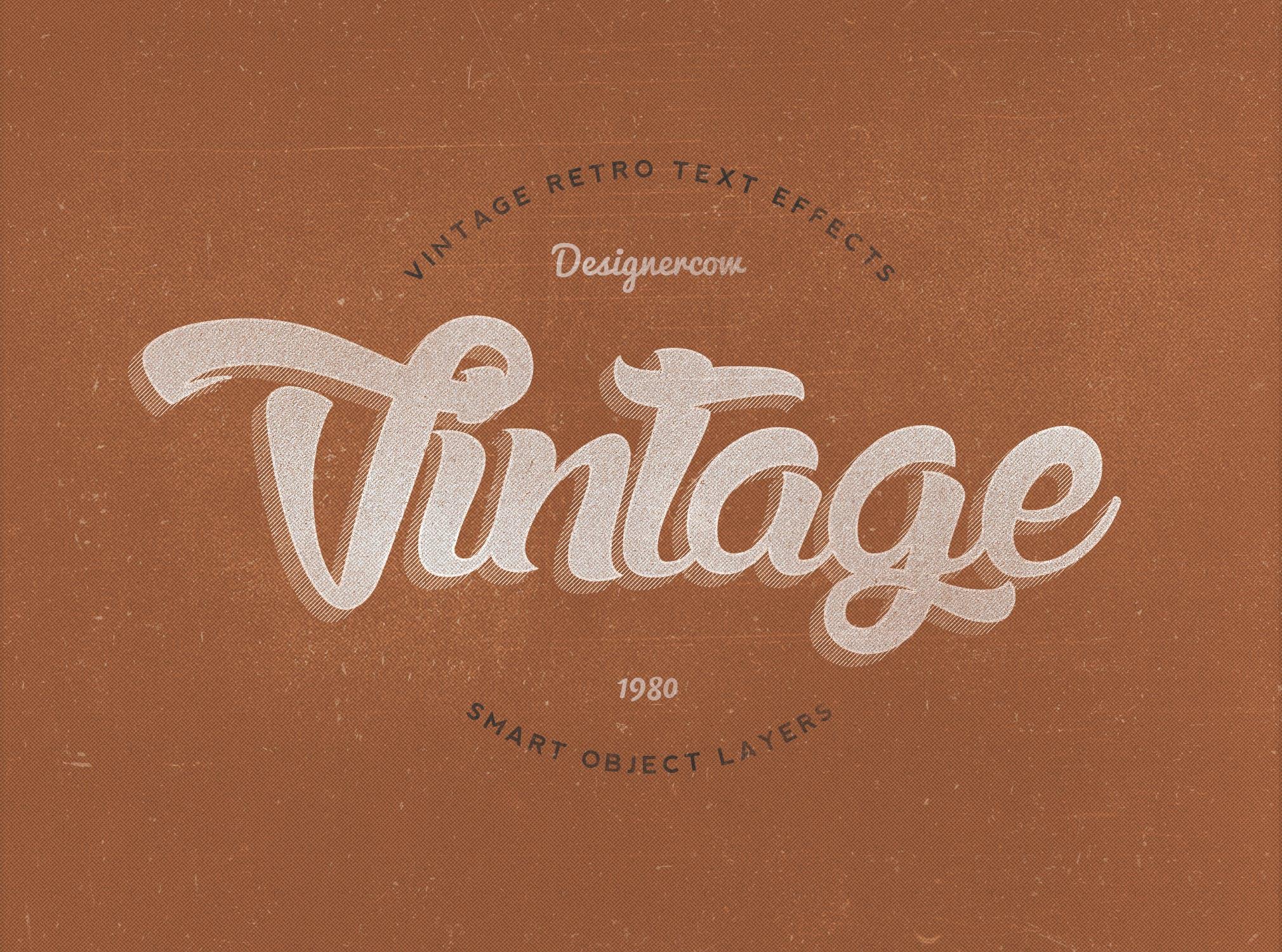 14款老式复古3D立体效果徽标标题字体设计PS样式模板 14 Vintage Retro Text Effects插图(10)