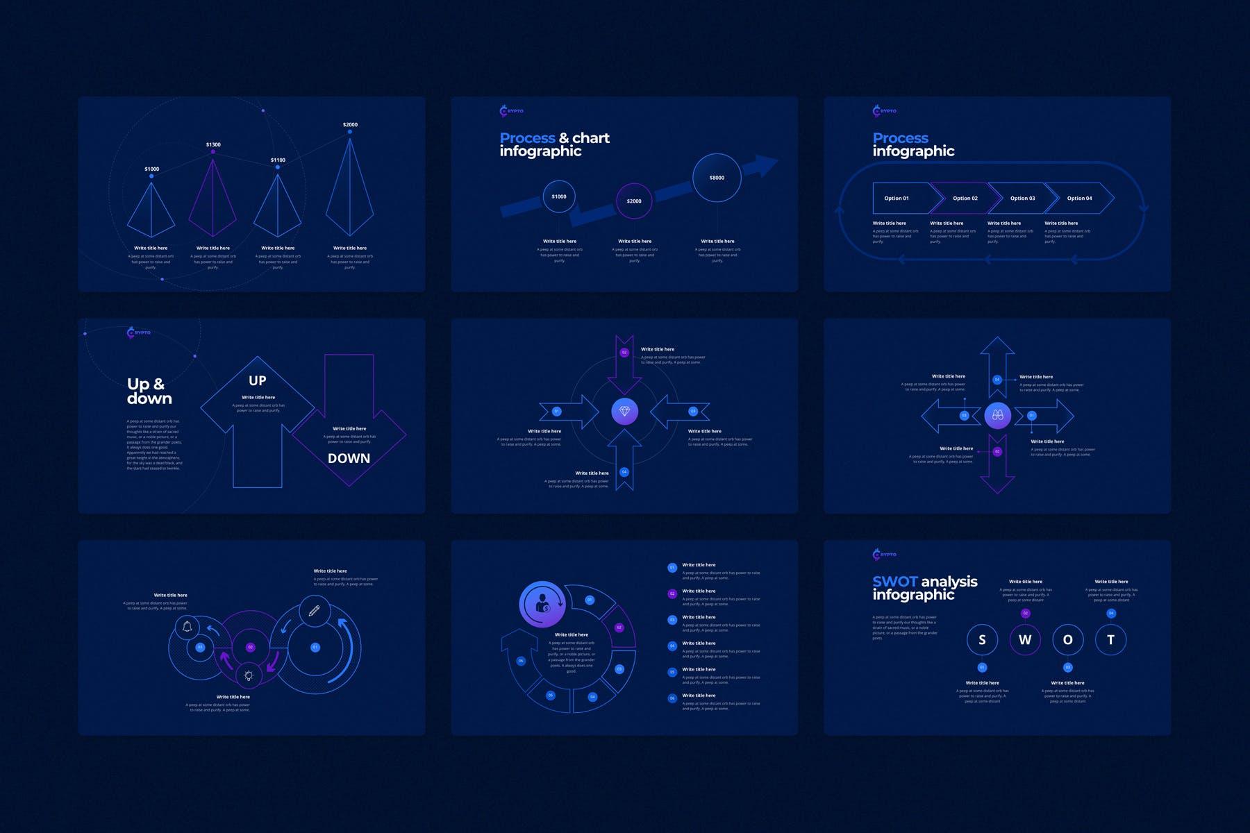 行业研究公司业务介绍图表设计幻灯片模板 CRYPTO Powerpoint Template插图(10)