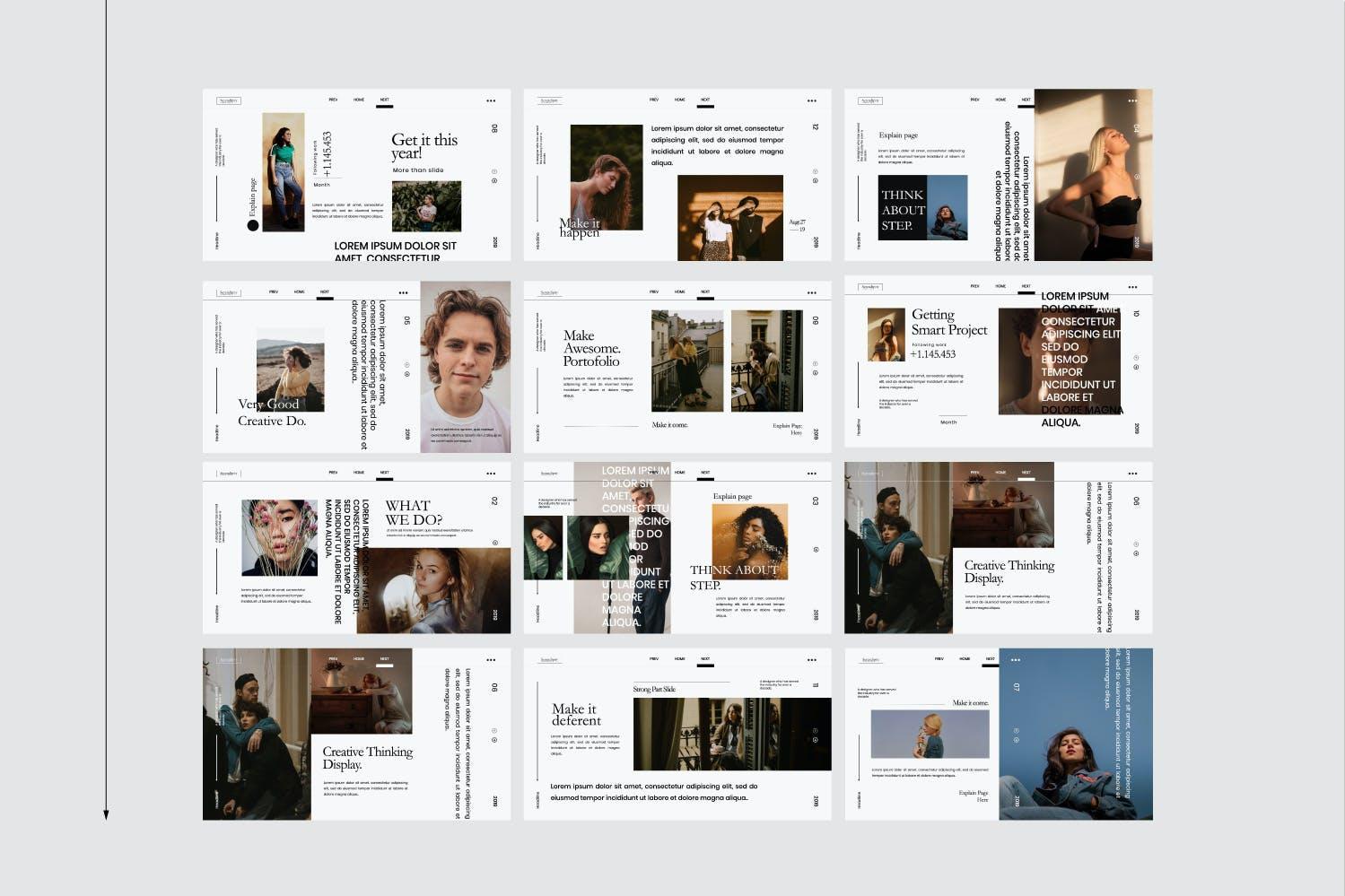 时尚简约服装摄影作品集幻灯片设计模板 Serendipity – Modern Fashion Design Powerpoint插图(10)