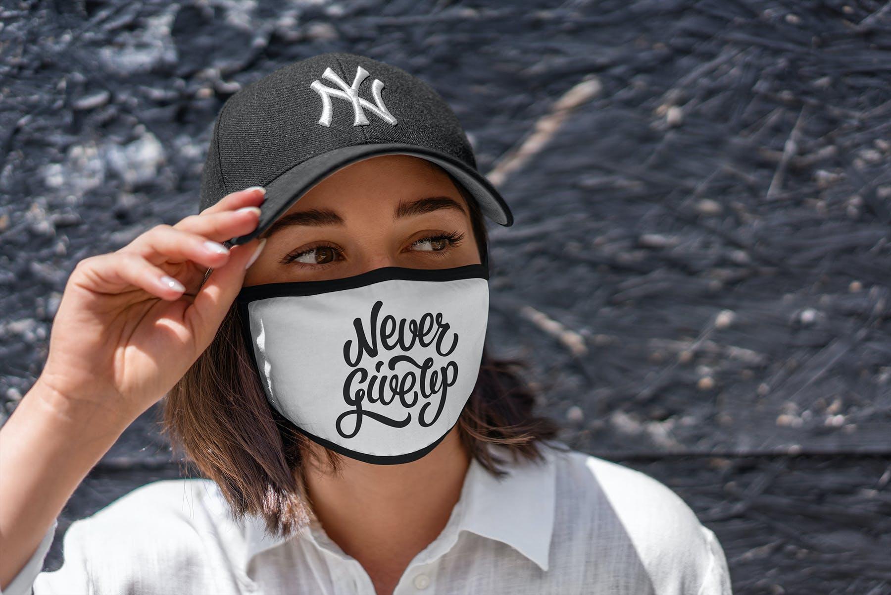 17款防护面罩口罩印花设计展示样机模板 Face Mask Mockup Edges Model插图(10)