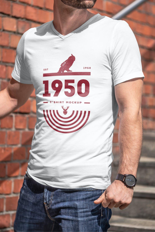 10款男士T恤印花设计展示样机模板 T-Shirt Mockup 5插图(10)