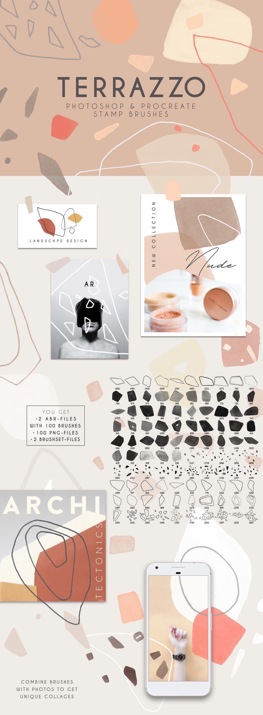 100款现代抽象石头几何图案PS水彩印章笔刷 Terrazzo Photoshop Brushes插图