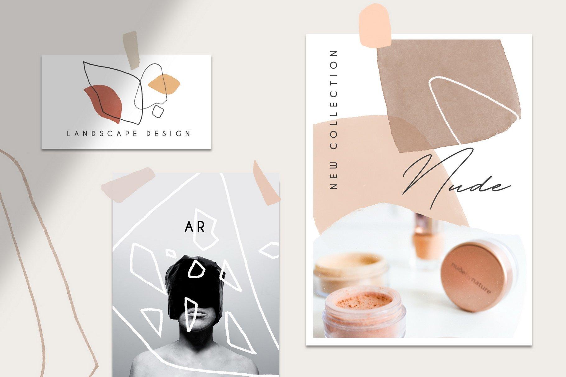 100款现代抽象石头几何图案PS水彩印章笔刷 Terrazzo Photoshop Brushes插图(2)