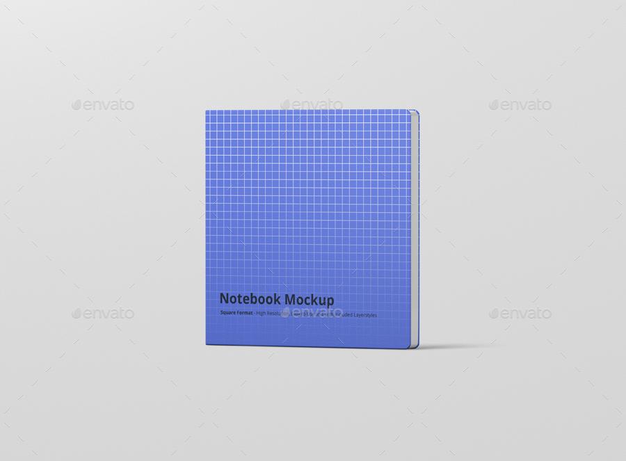 8款正方形笔记本设计展示样机模板 Notebook Mockup Square Format插图(10)