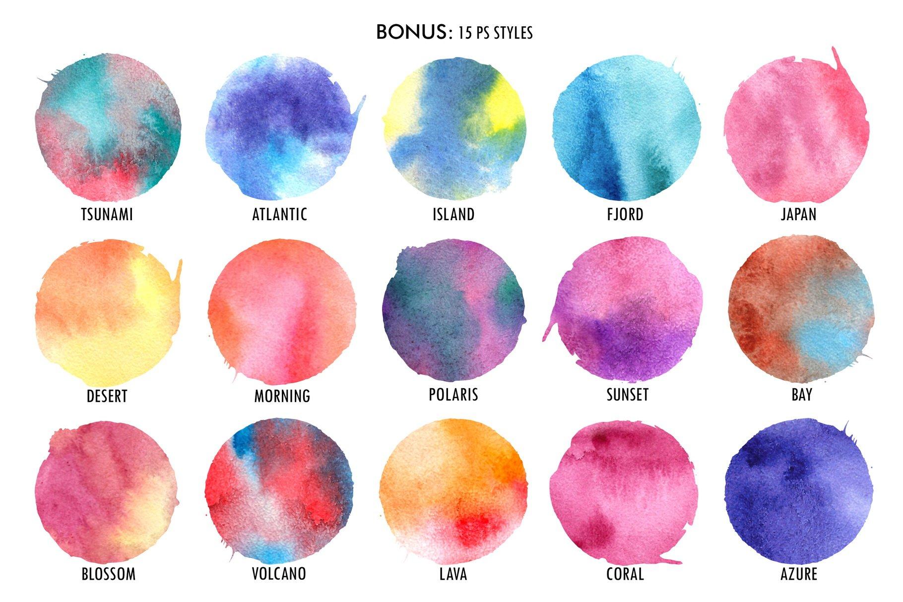 120款手绘水彩纹理PS笔刷素材 120 Watercolor PS Brushes插图(6)