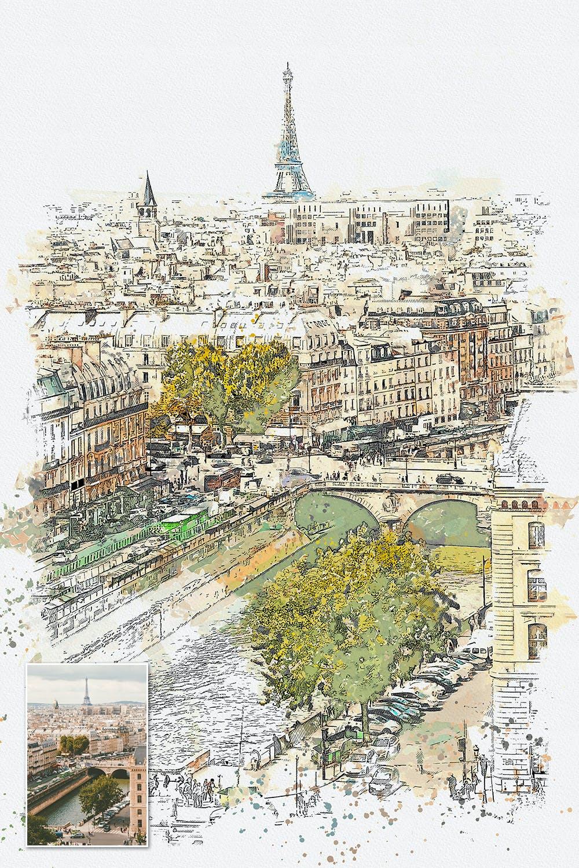 手绘水彩素描效果城市照片后期特效PS动作 Urban Sketch Photoshop Action插图(11)