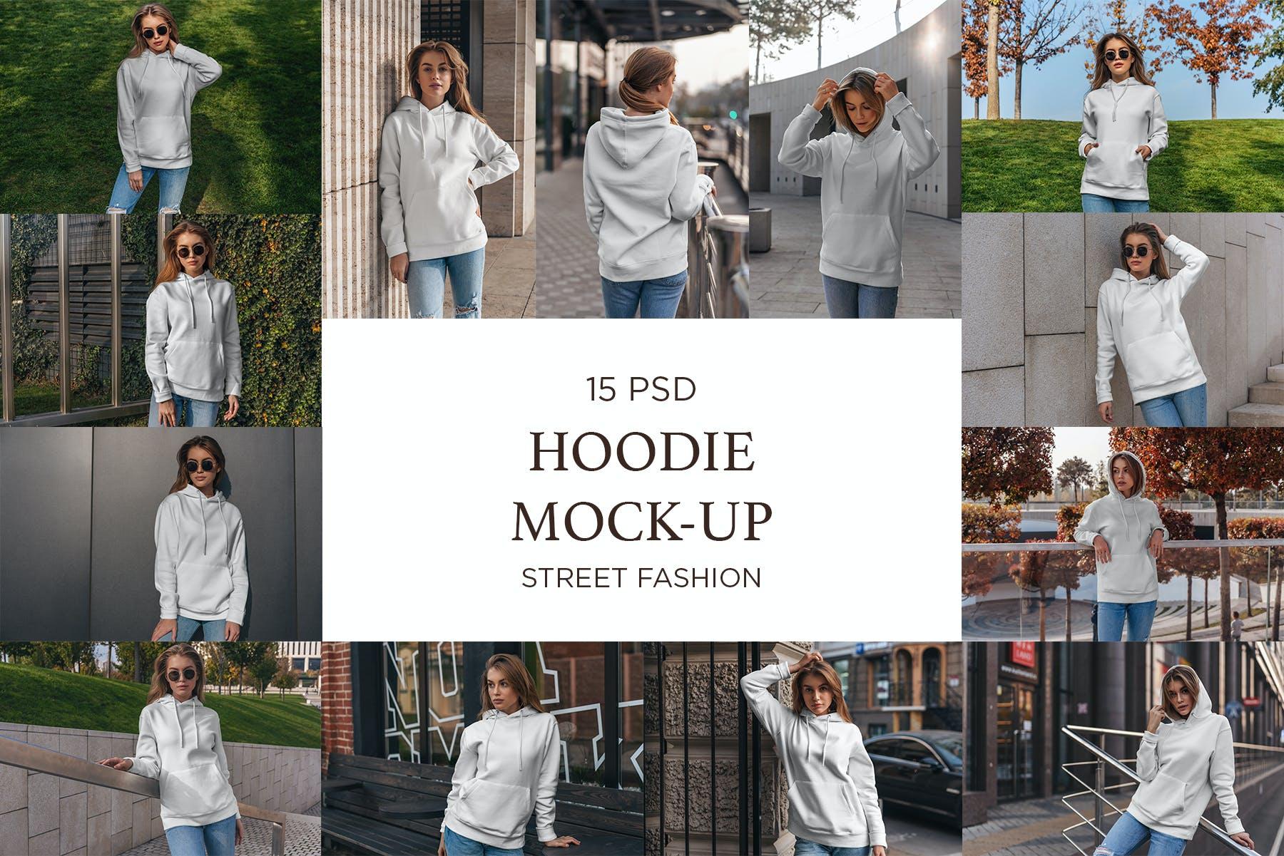 15款女孩连衣帽卫衣印花设计展示样机 Hoodie Mockup Street Fashion插图(11)