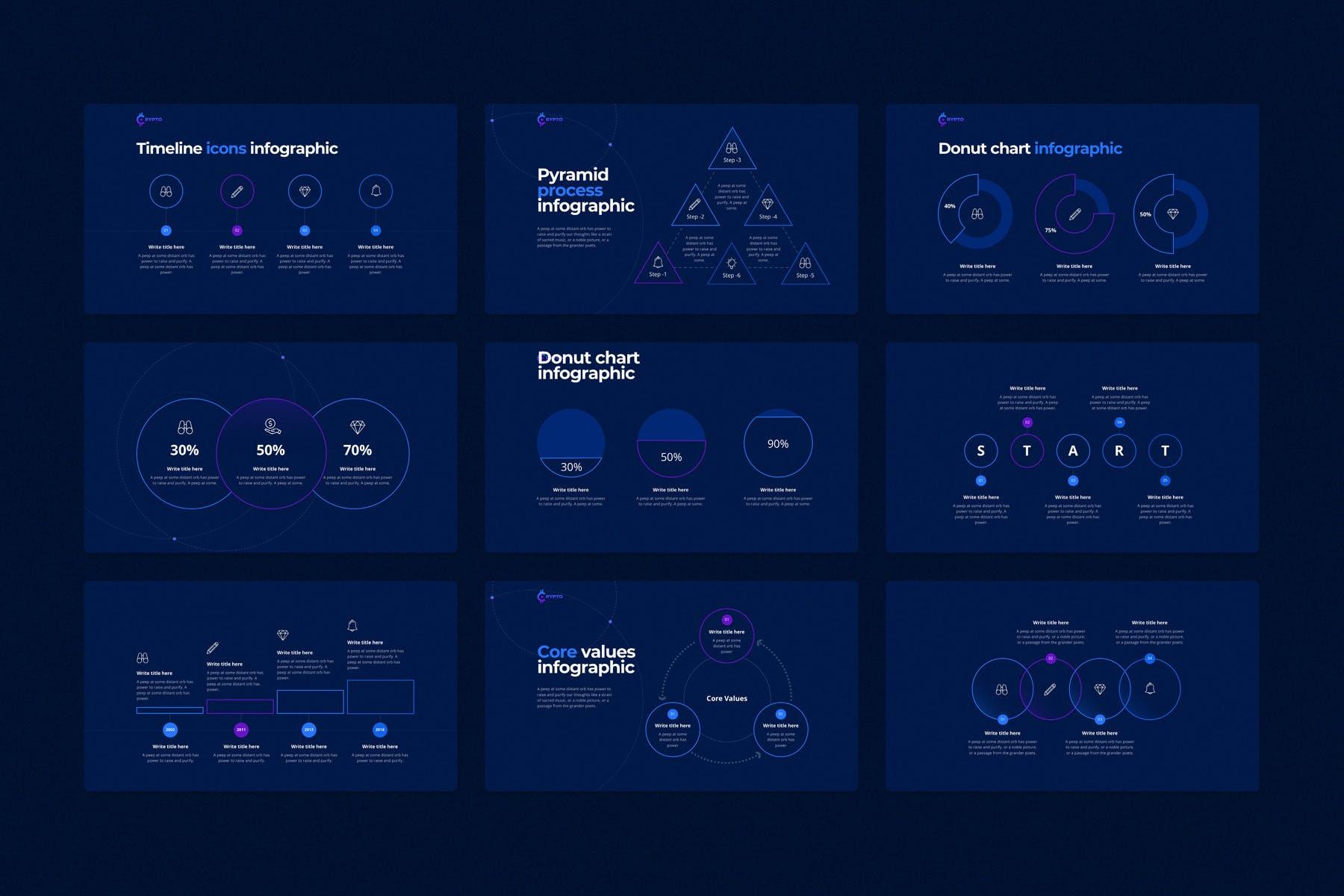 行业研究公司业务介绍图表设计幻灯片模板 CRYPTO Powerpoint Template插图(11)
