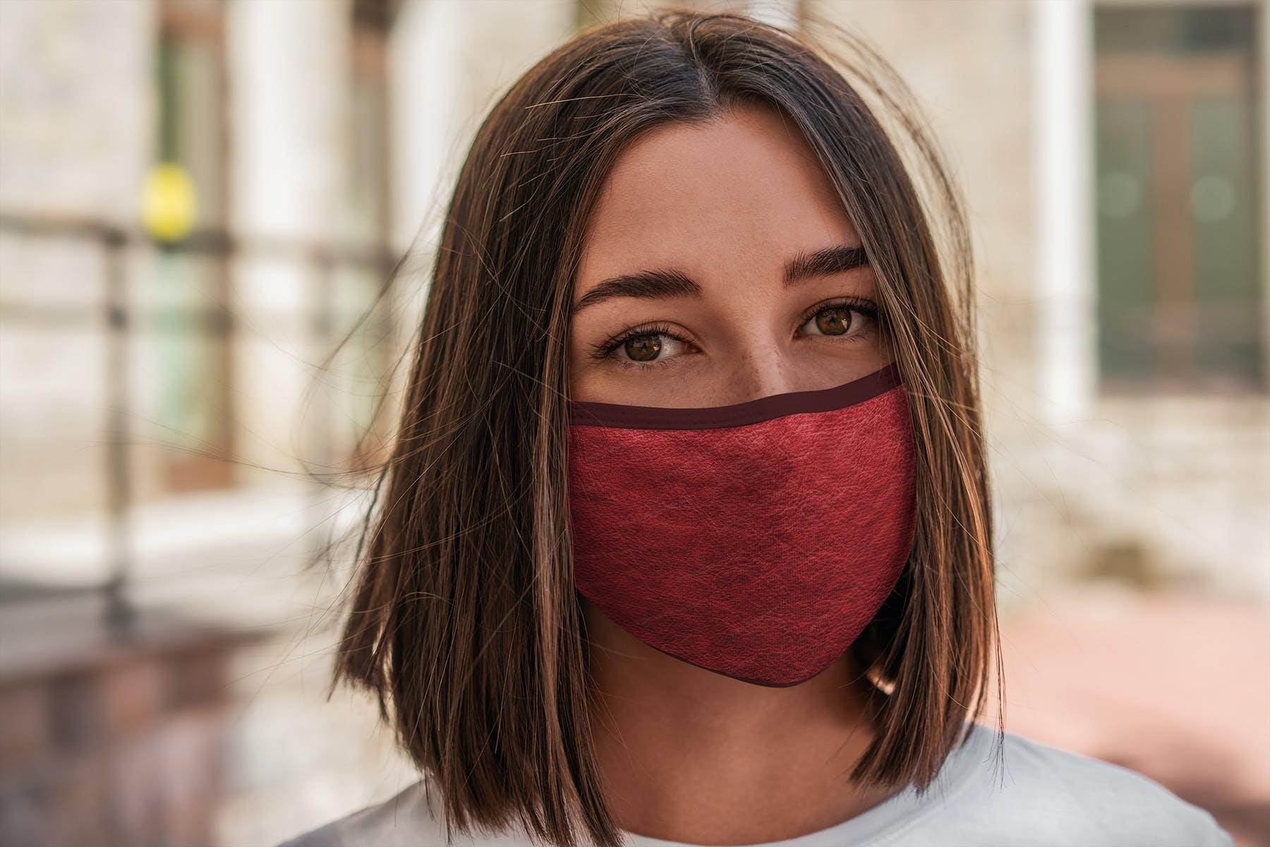 17款防护面罩口罩印花设计展示样机模板 Face Mask Mockup Edges Model插图(11)
