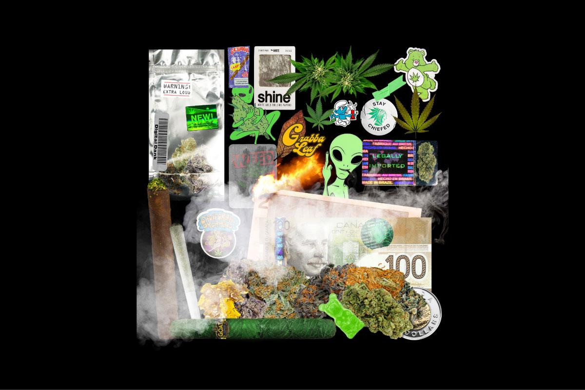 [已解锁精品素材] 170种做旧不干胶标签贴纸塑料袋火焰CD封面设计背景素材 Digital Dank (Weed GFX Kit)插图1