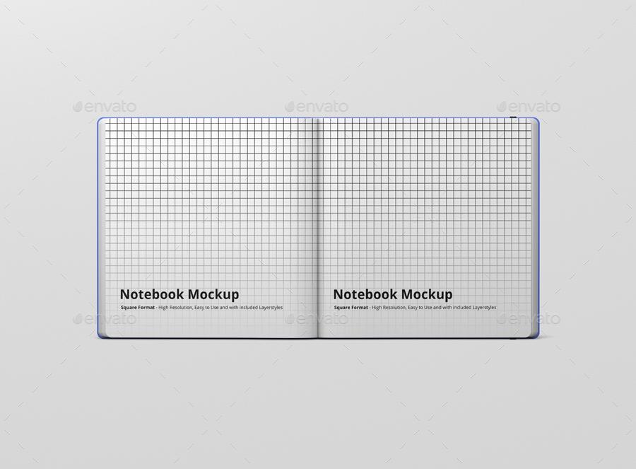 8款正方形笔记本设计展示样机模板 Notebook Mockup Square Format插图(11)