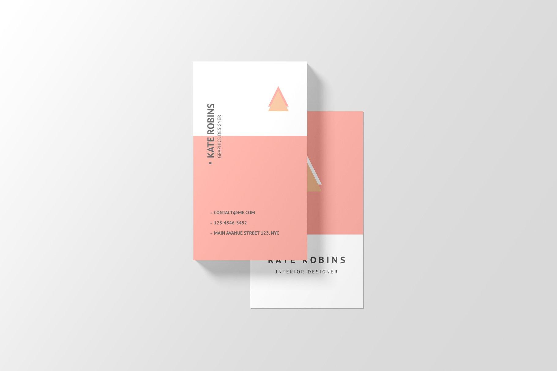 14款商务个人名片卡片设计展示样机 Portrait Business Card Mockup插图(13)