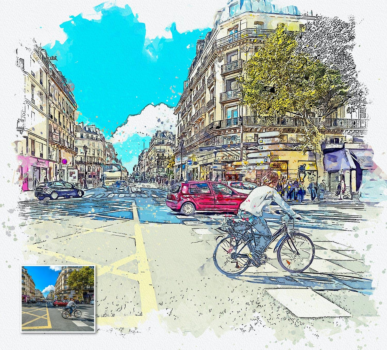 手绘水彩素描效果城市照片后期特效PS动作 Urban Sketch Photoshop Action插图(12)