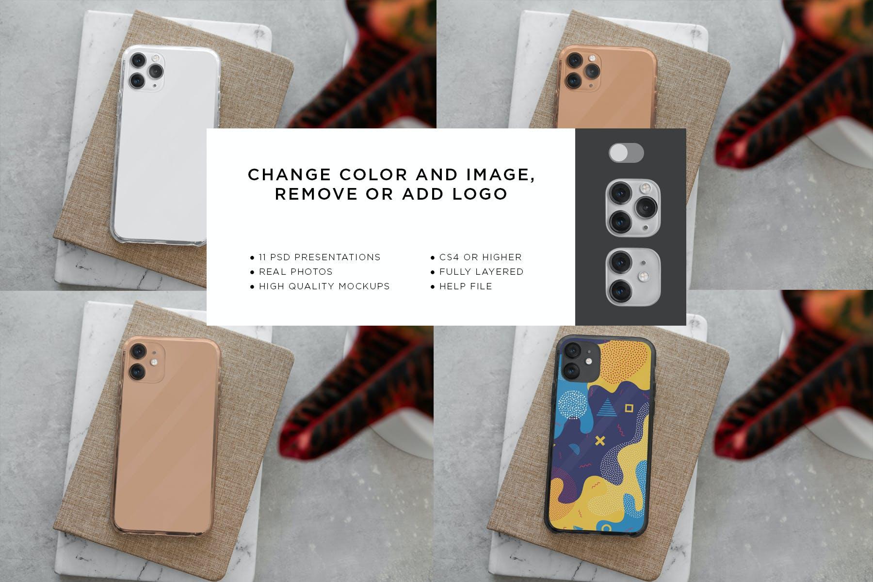11款Phone 11/Pro智能手机壳外观设计展示样机模板 Phone 11/Pro Clear Case Mockup插图(12)