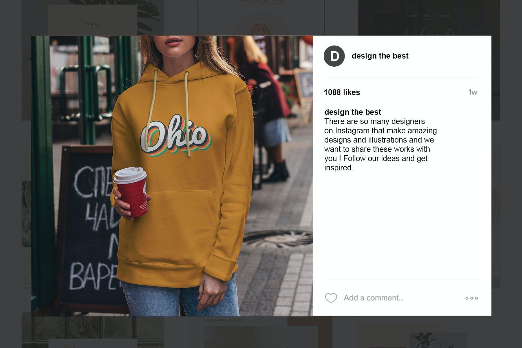 15款女孩连衣帽卫衣印花设计展示样机 Hoodie Mockup Street Fashion插图(12)