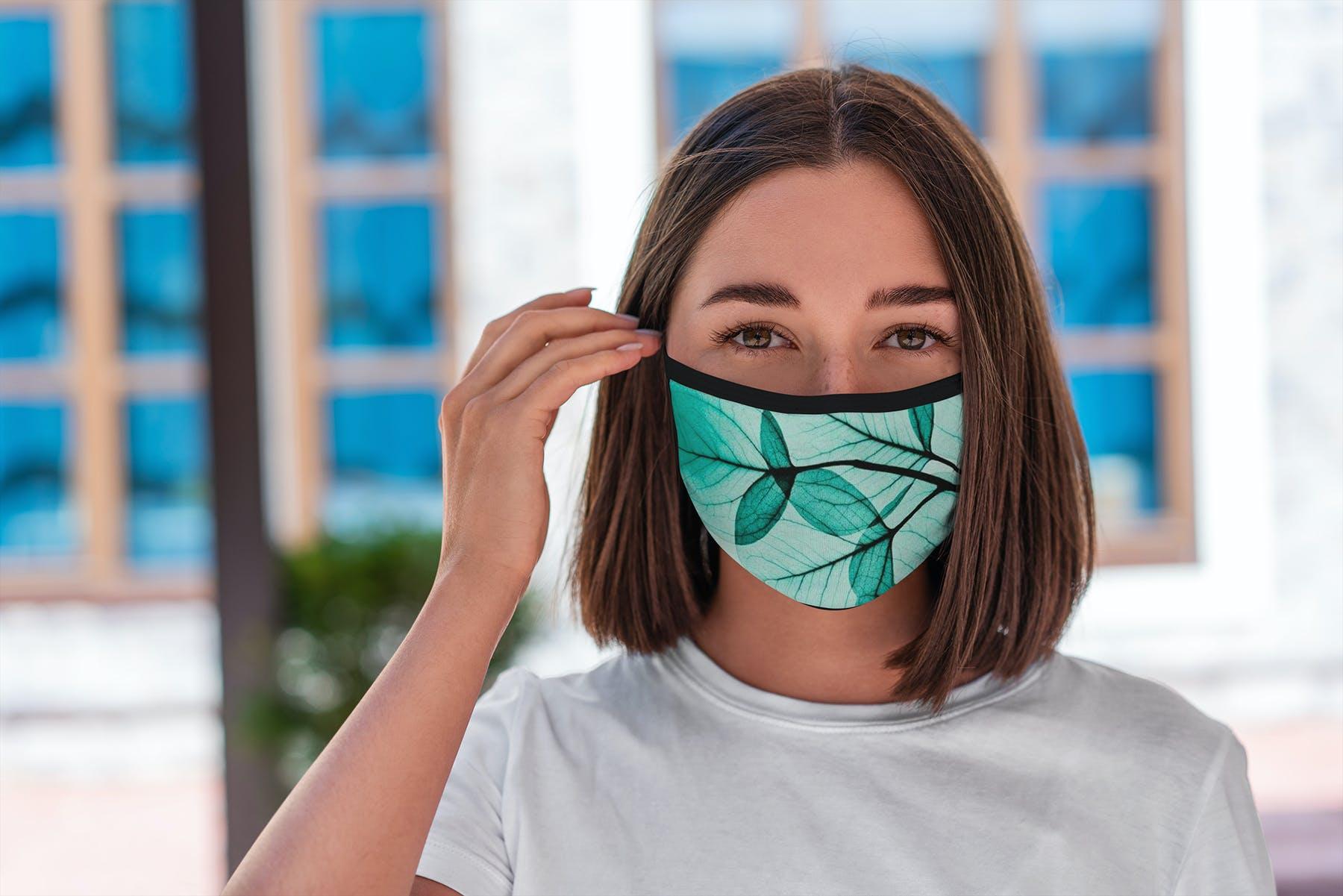 17款防护面罩口罩印花设计展示样机模板 Face Mask Mockup Edges Model插图(12)