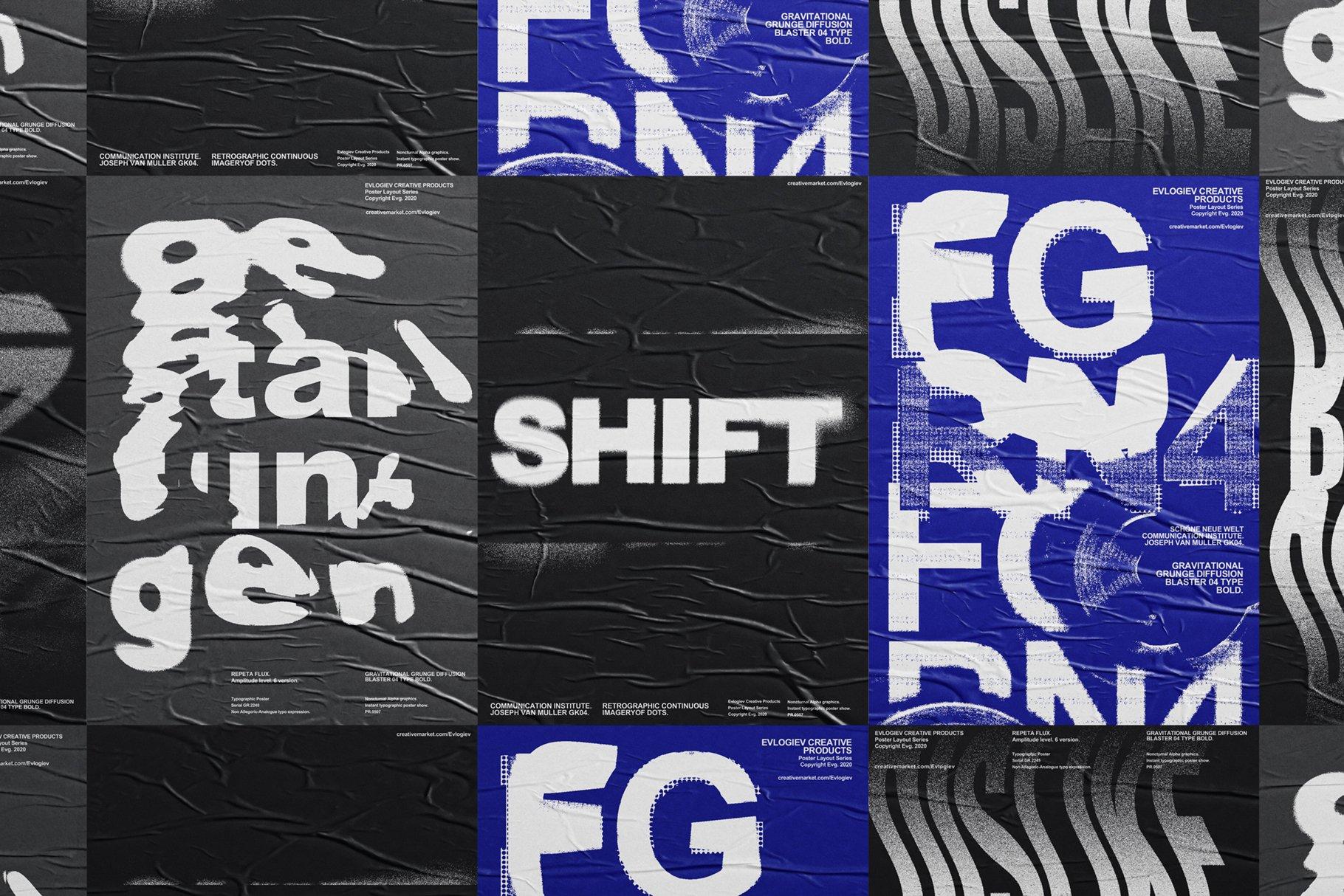 20款创意抽象主视觉海报标题特效字体设计智能贴图样机模板 Typographic Poster Layouts No.01插图(12)