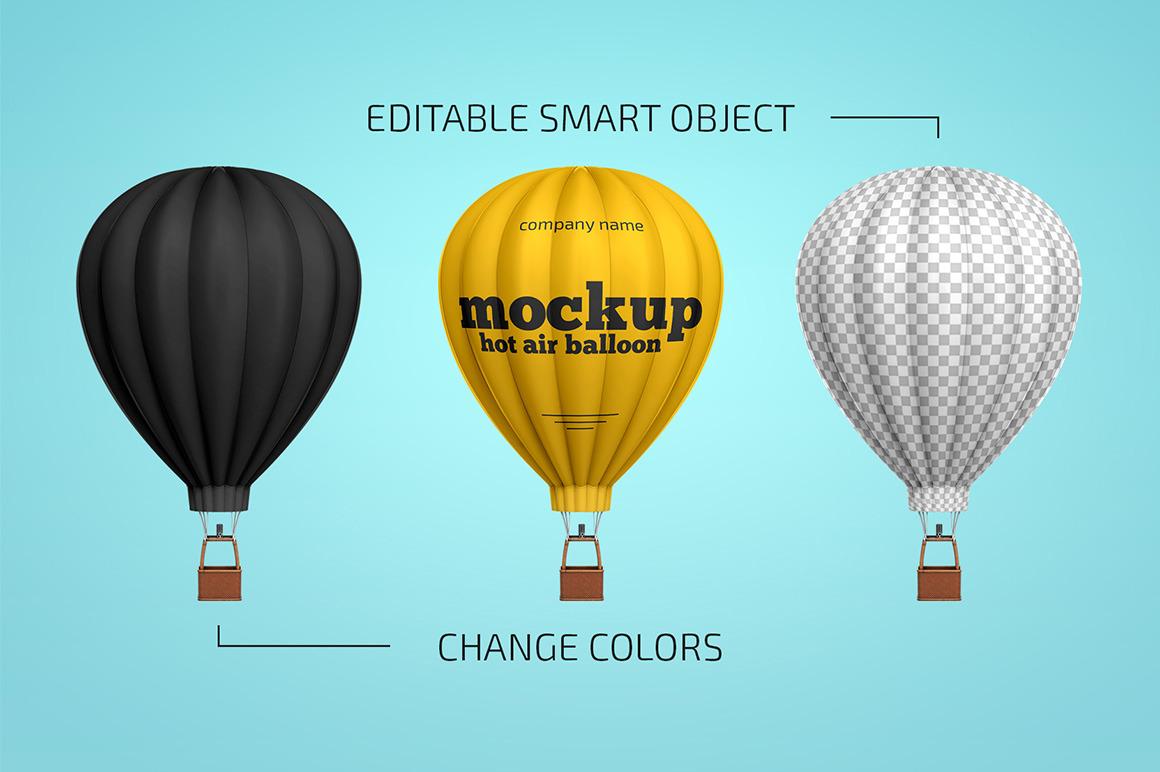 热气球外观印花设计展示样机模板 Hot Air Balloon Mockup插图(1)