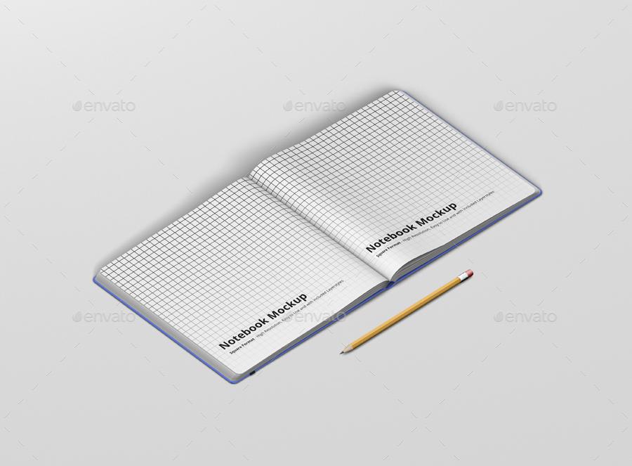 8款正方形笔记本设计展示样机模板 Notebook Mockup Square Format插图(12)