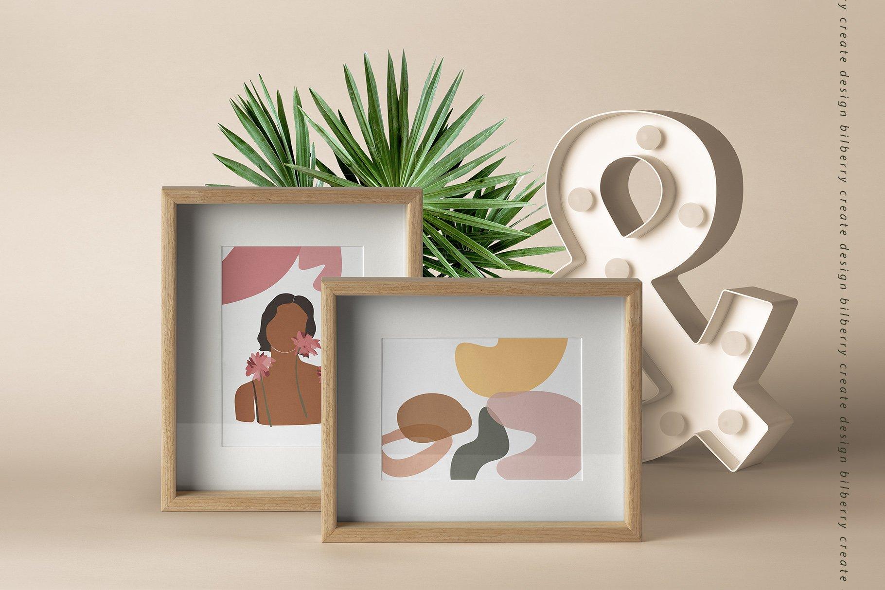 85多个抽象女孩风景形状矢量图案素材 Child Of Flowers Abstract Portrait插图(13)