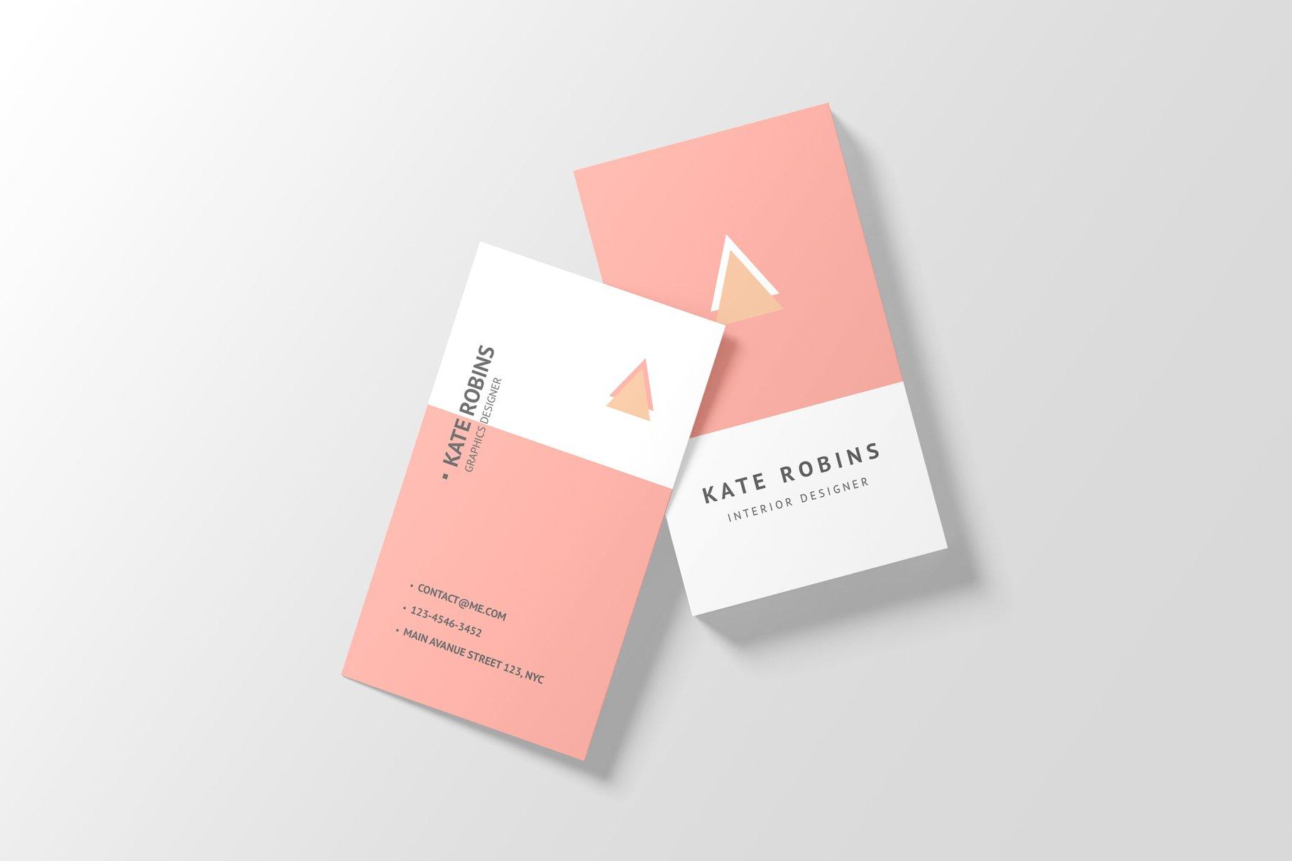 14款商务个人名片卡片设计展示样机 Portrait Business Card Mockup插图(14)
