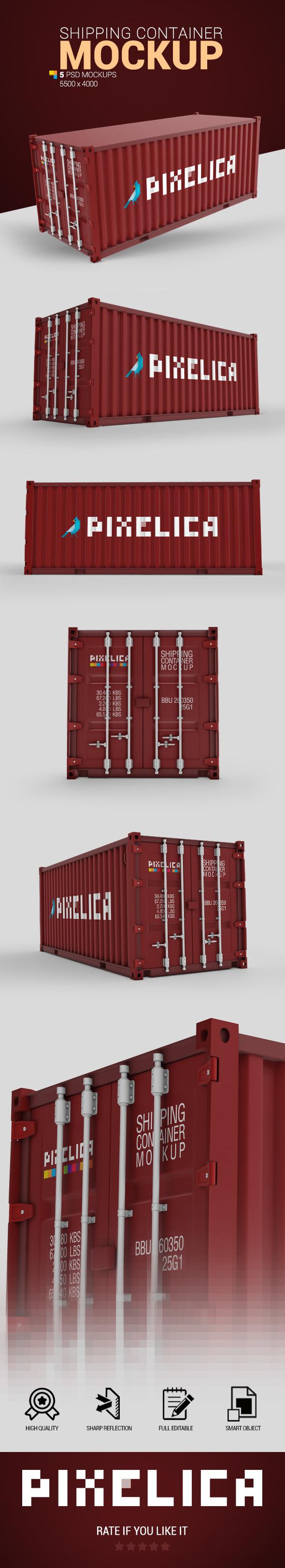 5款运输集装箱印花设计展示样机 Shipping Container Mockup插图