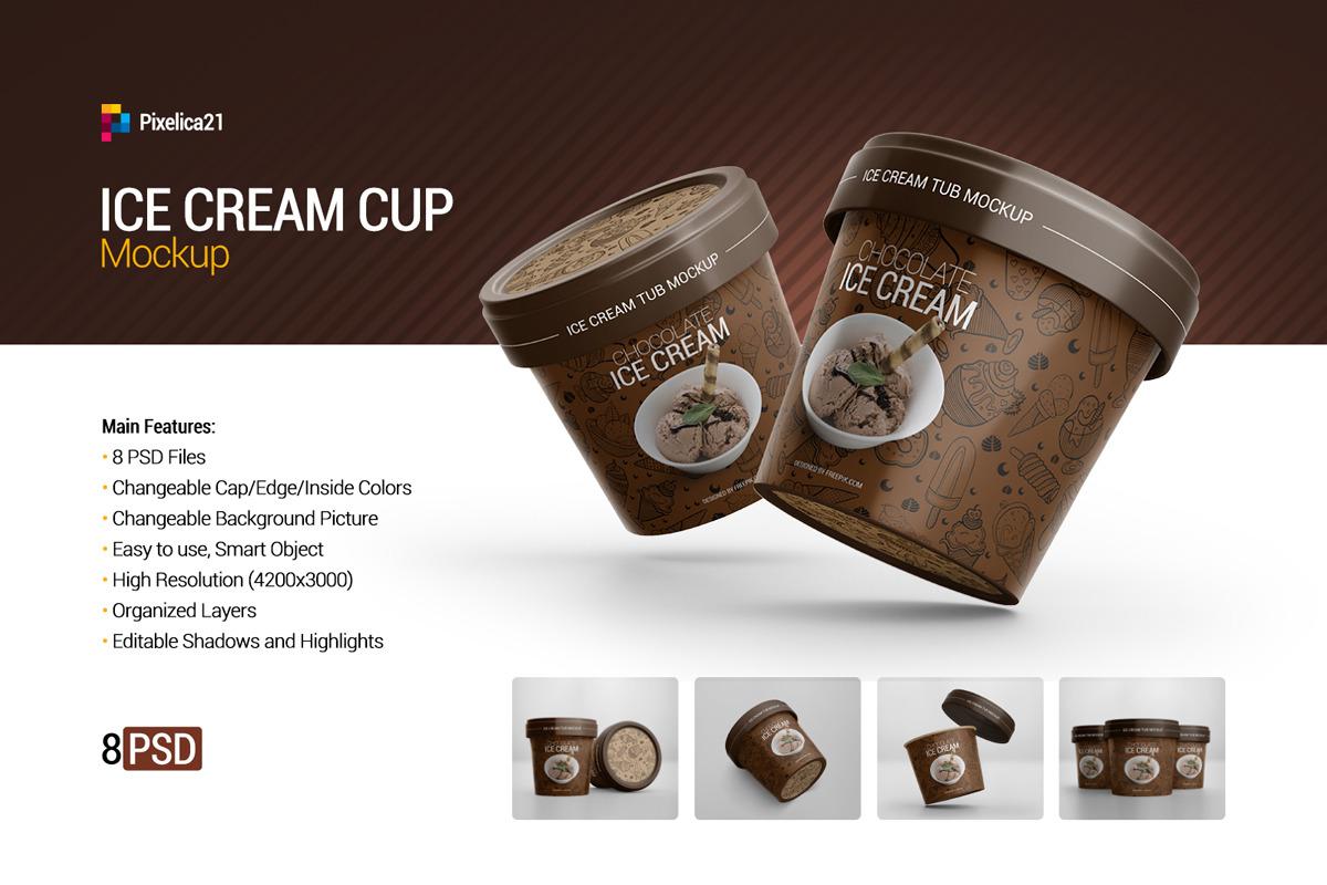 8款冰淇淋杯设计展示样机模板 Ice Cream Cup Mockup插图