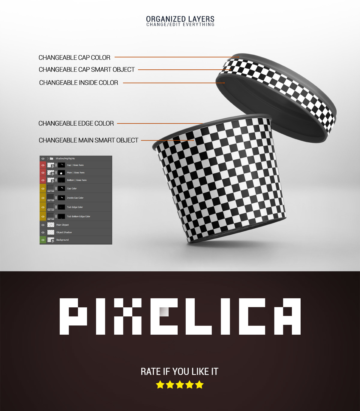 8款冰淇淋杯设计展示样机模板 Ice Cream Cup Mockup插图(4)