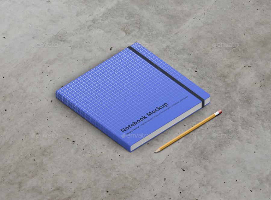 8款正方形笔记本设计展示样机模板 Notebook Mockup Square Format插图(13)