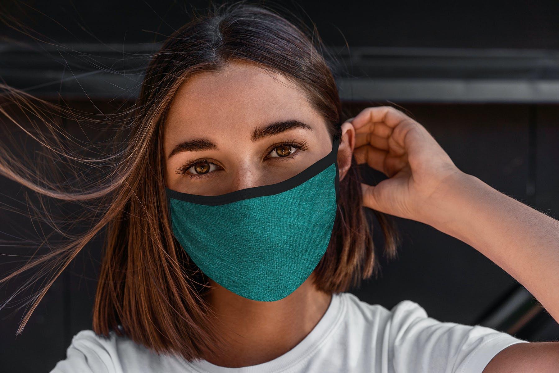 17款防护面罩口罩印花设计展示样机模板 Face Mask Mockup Edges Model插图(14)