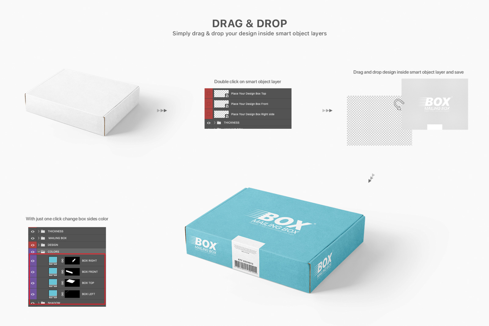 多角度快递包装纸盒外观设计展示样机 Mailing Box Mockups Set插图(11)